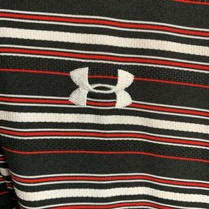 Under Armour Loose Fit Black & Striped Polo